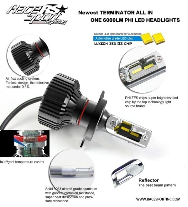 Terminator Series 9005 Fan-less LED Conversion Headlight Kit with Pin Point Projection Optical Aims and Shallow Mount Design